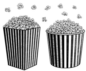 Popcorn in box illustration, drawing, engraving, ink, line art, vector