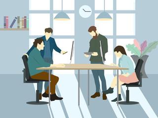People working together in smart office, smart business management,vector design.