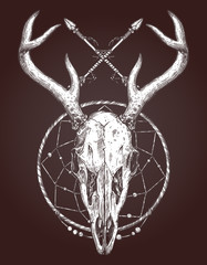 Sketch Of Deer Skull With Dreamcatcher And Indian Arrows. Boho Hand Drawn Illustration