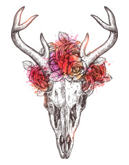 Fotorolgordijn Aquarel schedel Sketch Of Deer Skull With Flowers Wreath. Boho Hand Drawn Illustration