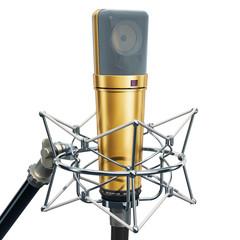 Diaphragm condenser studio microphone with shock-mount, 3D rendering