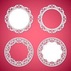 b67948be816b Laser cut vector frame collection. Set of abstract oval and round ...
