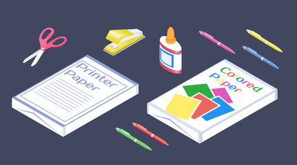 Office supplies in 3D isometric style. Set of stationery.