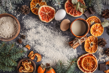 Christmas background on dark. Christmas food flat lay, top view, space for text.