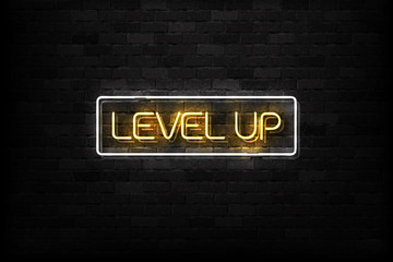 Vector realistic isolated neon sign of Level Up button logo for decoration and covering on the wall background.