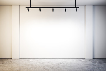 Modern gallery with blank wall