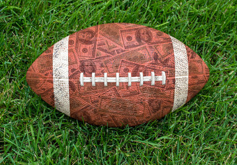 American football on grass with money pattern in brown leather