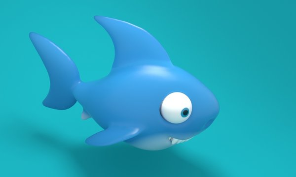 Model toy Shark on a blue background. 3d rendering