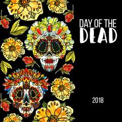 Dia de los Muertos. Watercolor illustration and hand draw lettering