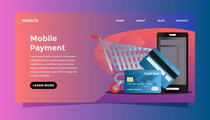 Mobile payment concept. Ready to use vector illustration