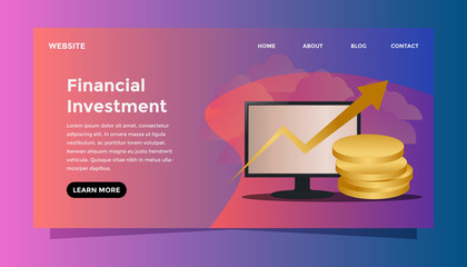 Financial investment concept. Ready to use vector illustration. Suitable for background, wallpaper, landing page, web, banner, card and other creative work.