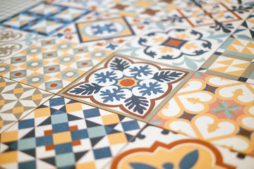 patchwork pattern tile  closeup - colorful design Fototapete