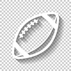American Football logo. Simple rugby ball icon. White icon with