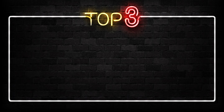 Vector realistic isolated neon sign of Top 3 frame logo for decoration and covering on the wall background.