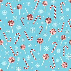Christmas seamless pattern with candy canes, lollipops, snowflakes, snow ball on blue background. Design for wrapping paper, print, greeting cards. Winter Holiday concept. Vector illustration