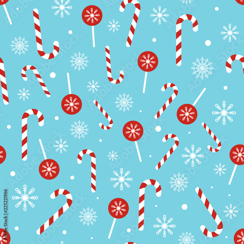 Christmas Candy Pattern On Blue Background Seamless Texture With