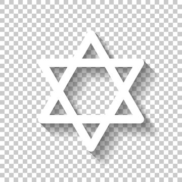 Star of david, simple icon. White icon with shadow on transparen