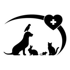 animal emblem with animals on white background