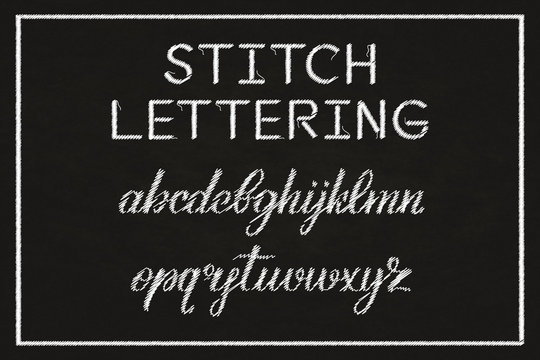 Vector realistic isolated stitch typography alphabet for decoration and covering on dark background. Concept of embroidery font.