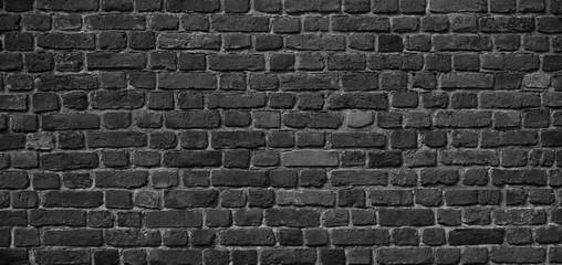 Panoramic Old Grunge Black and White Brick Wall Background