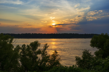 Beautiful scene with the Mississippi river at sunset near the city of Vicksburg in the State of Mississippi, USA.