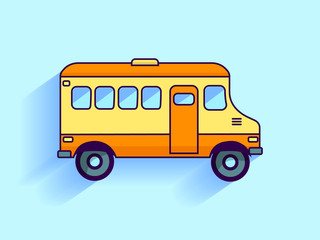Flat School bus. Vector illustration