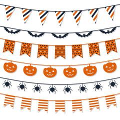 Halloween Garland Collection. Festive decorations design. Vector template.