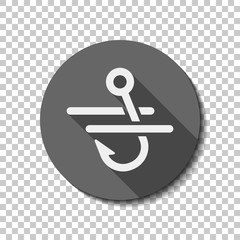 Fishing hook and water. Simple icon. flat icon, long shadow, circle, transparent grid. Badge or sticker style