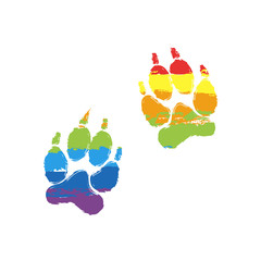 animal tracks icon. Drawing sign with LGBT style, seven colors of rainbow (red, orange, yellow, green, blue, indigo, violet