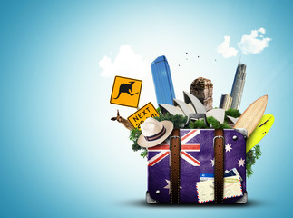 Foto op Canvas Oceanië Australia, retro suitcase with hat and attractions Australia