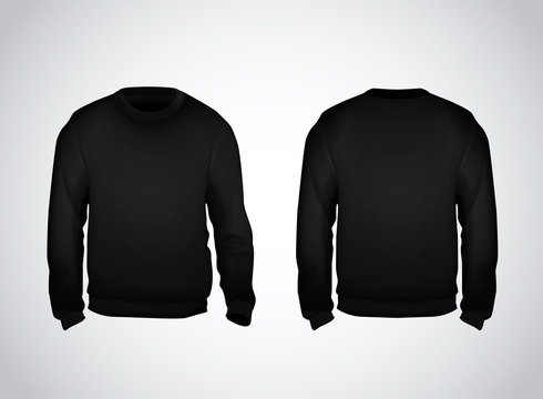 Black men's sweatshirt template front and back view. Hoodie for branding or advertising.