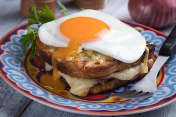 French croque madame sandwich