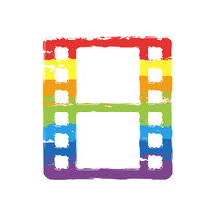 movie strip. simple silhouette. Drawing sign with LGBT style, seven colors of rainbow (red, orange, yellow, green, blue, indigo, violet