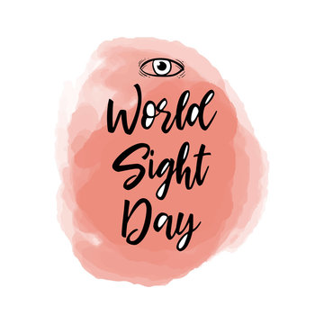 World sight day lettering text. Watercolor background and eye doodle concept. Vector graphic illustration