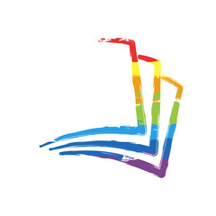 sheet of book, paper. Drawing sign with LGBT style, seven colors of rainbow (red, orange, yellow, green, blue, indigo, violet