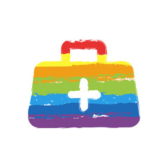 first-aid kit, simple icon. Drawing sign with LGBT style, seven colors of rainbow (red, orange, yellow, green, blue, indigo, violet