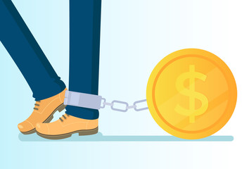 Big golden coin tied to leg with chains. Money credit wealth dependance addiction. Vector flat cartoon isolated illustration