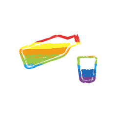 bottle of water and glass cup. simple icon. Drawing sign with LGBT style, seven colors of rainbow (red, orange, yellow, green, blue, indigo, violet