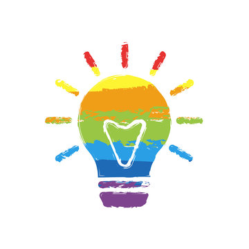old bulb with light. simple single icon. Drawing sign with LGBT style, seven colors of rainbow (red, orange, yellow, green, blue, indigo, violet