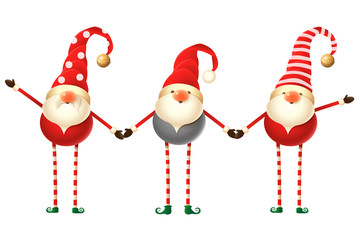 Set of three cute Scandinavian Gnomes isolated on white background