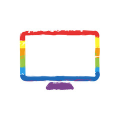 Computer monitor or modern TV. Simple icon. Drawing sign with LGBT style, seven colors of rainbow (red, orange, yellow, green, blue, indigo, violet