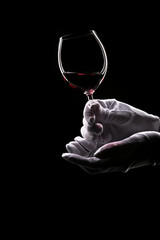 Contours of hands in white gloves hold wine glass