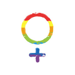 gender symbol. linear symbol. simple women icon. Drawing sign with LGBT style, seven colors of rainbow (red, orange, yellow, green, blue, indigo, violet