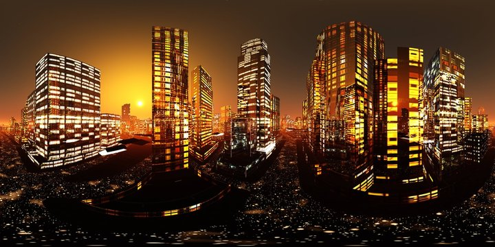 Night city. HDRI . equidistant projection. Spherical panorama. panorama 360. environment map,