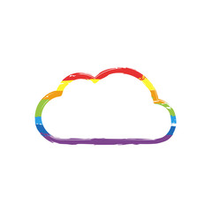 Simple cloud. Linear symbol with thin outline. Drawing sign with LGBT style, seven colors of rainbow (red, orange, yellow, green, blue, indigo, violet