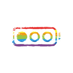Simple battery, low level. Drawing sign with LGBT style, seven colors of rainbow (red, orange, yellow, green, blue, indigo, violet