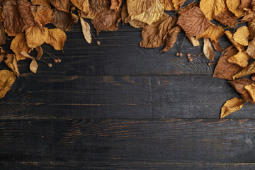 Autumn composition on a dark wooden table. Top view. Space for text.