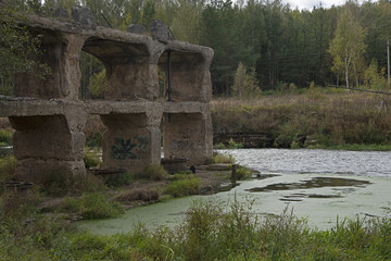 URBANISTIC LANDSCAPE - remains of the old destroyed hydroelectric power station