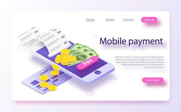 Isometric online payment online concept. Concept of mobile payments, personal data protection.