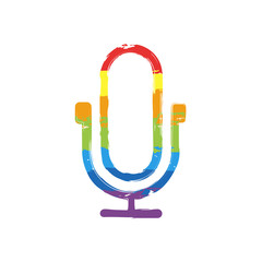 Simple microphone icon. Linear, thin outline. Drawing sign with LGBT style, seven colors of rainbow (red, orange, yellow, green, blue, indigo, violet